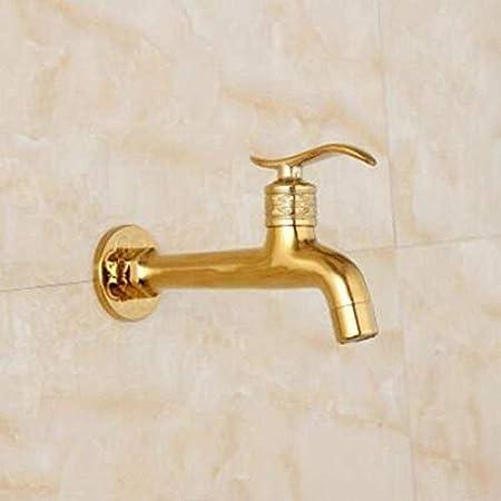 Zhenly Grifo de Oro de latón Jardín Breve Bib-Gallo Lavadora Cobre Bibcock WC Toque Grifo del jardín,Metallic: Amazon.es: Hogar