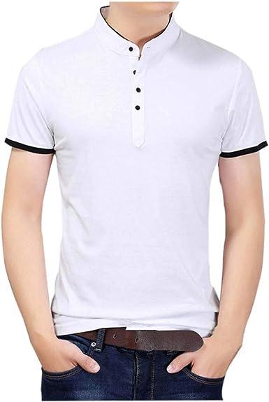 Polo Camisa De Manga Cuello con Corta En Simple Estilo V para Hombre Camisa De Manga Corta con Cuello En V Ocio Camisa De Corte Slim En Algodón Camisa De Manga Larga: