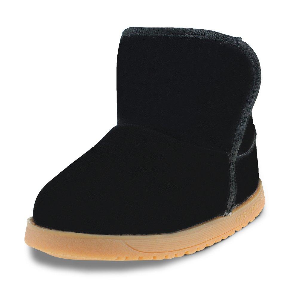 Maxu Toddler Kids Slip on Winter Snow Boots,Black,7M