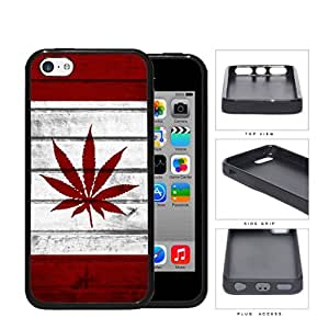Canada Weed Flag White and Red Wood Pattern Background Hard Rubber TPU Phone Case Cover iPhone 5c