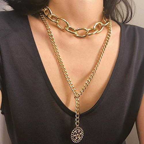 Bestyuan Women Statement Short Stylish Choker Multi Layer Multi Strand Chain Punk Pendant Necklace For Woman Teens Trendy Necklaces Pendants Charms (Gold)