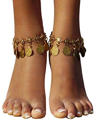 Jingle Anklet (Bienvenu Vintage Coin Ankle Bracelet Tassel Gypsy Festival Beach Bohemian Anklet, Gold)