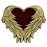 PinMart's Antique Gold Heart with Angel Wings Enamel lapel Pin