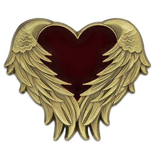 new PinMart's Antique Gold Heart with Angel Wings Enamel lapel Pin for sale
