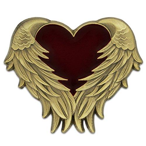 PinMart's Antique Gold Heart with Angel Wings Enamel lapel -