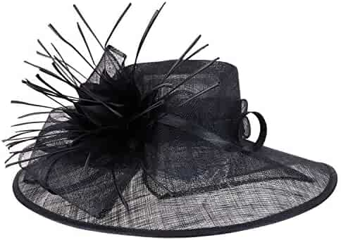 96776aa68 Trendy Apparel Shop Reverse Duck Feathers Flower Large Brim Fashion Sinamay  Hat