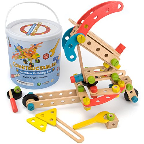 Imagination Generation Constructables! 92-Piece Wooden STEM Building Block Playset | Set Comes with Wood Construction Pieces & Real Play Tools | Includes Nuts & Bolts for Binding Blocks Together ()