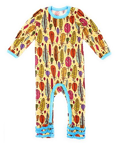 Kozi & Co. Baby Romper Coverall, Long Sleeve - Bamboo Clothing - Infant Girls, Fiesta Feathers, 3-6 Months by