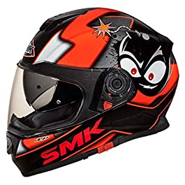 SMK MA271 Twister CARTOON Graphics Pinlock Fitted Full Face Helmet Clear Visor (Large)