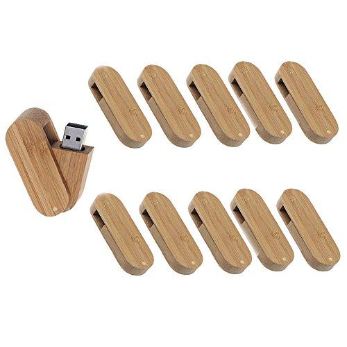 Uactor 10pcs Wood Bamboo Rounded Corner Swivel Design 8GB