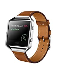 Fitbit Blaze Replacement Band, TOOPOOT PU Leather Watch Strap For Fitbit Blaze Smart Watch (brown)