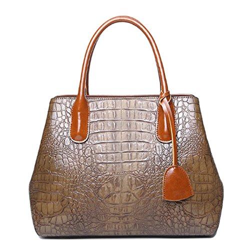 Sansji Womens Handbags Shoulder Messenger Bags Crocodile Pattern Leather Handbags Brown Fashion