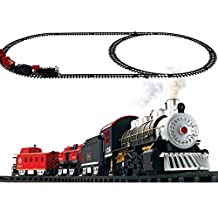 Masall Classic Electric Train Set with Smoke, Sounds, Light - Happy Holiday Gift for Kids