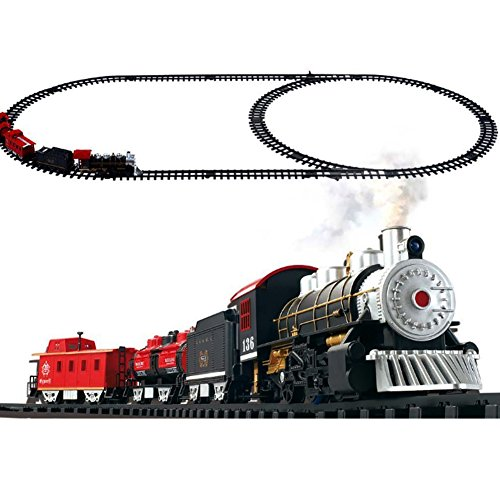 Classic Holiday Train Set with Real Smoke, Authentic Lights, Sounds by Masall (Holiday Electric Train Sets)