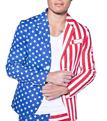 American Flag Blazer - Patriotic USA Sport Coat, RedWhiteBlue, Small/Medium
