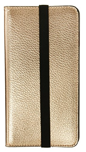 MOBILELUXE Metallic Leather Wallet Phone Case for iPhone 6 Plus & 6s Plus - Gold/Fuchsia by MOBILELUXE