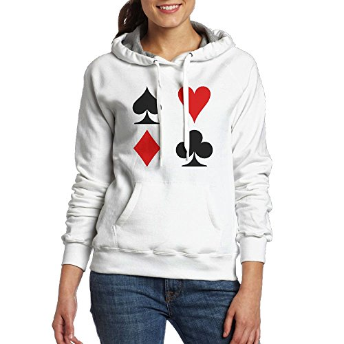 Chester MacAdam Women's Playing Card Suits Soft Long Sleeve Pullover Hooded Sweatshirt White Size - Kingdom Card Seattle