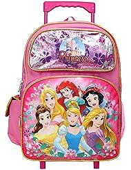 Disney Princess Cinderella Belle Rapunzel Ariel 16 inches Large Rolling Backpack