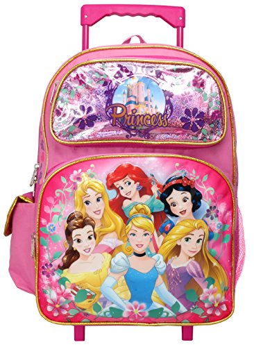 Disney Princess Cinderella Belle Rapunzel Ariel 16 inches Large Rolling Backpack (Princess Backpack Kids)