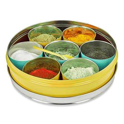 ELAN Spice Box, 7 compartments, Stainless Steel, Yellow Price & Reviews