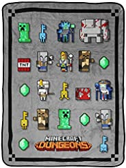Jay Franco Minecraft Dungeon Mobs Throw - Measures 46 x 60 inches, Kids Bedding - Fade Resistant Super Soft Fl