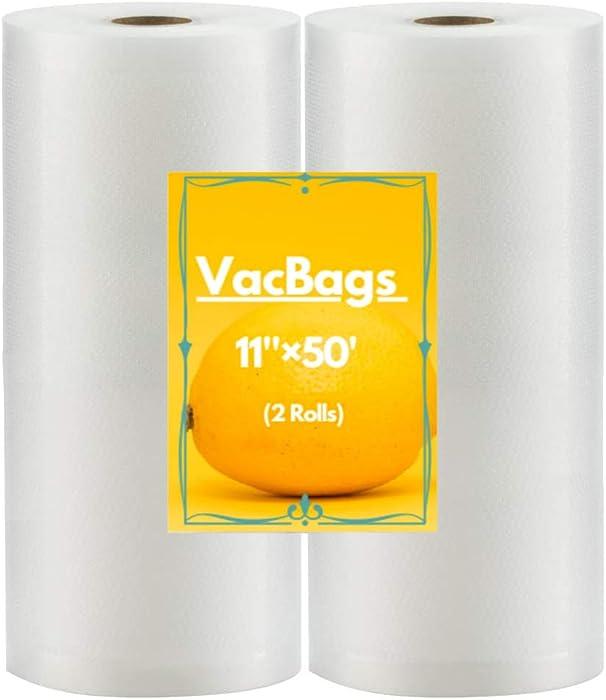 2021 Newest Vacuum Sealer Bags 11x50 Rolls for 2-Pack BPA Free Vacuum Seal Roll Vacuum Sealer Bags Rolls 11 Inch Vacuum Sealer Machine Bags Food Vacuum Sealers Fresh Saver Vacuum Bags Vacuum Seal Bags for Food Vaccum Sealed Bags Storage(Total 100 Feet) (2 Pack)