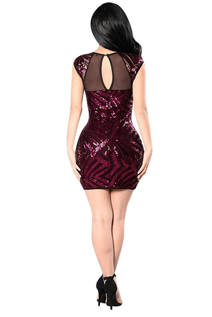 Womens Sexy Short Sleeves Mesh Sequin Bodycon Party Dresses Clubwear M Red
