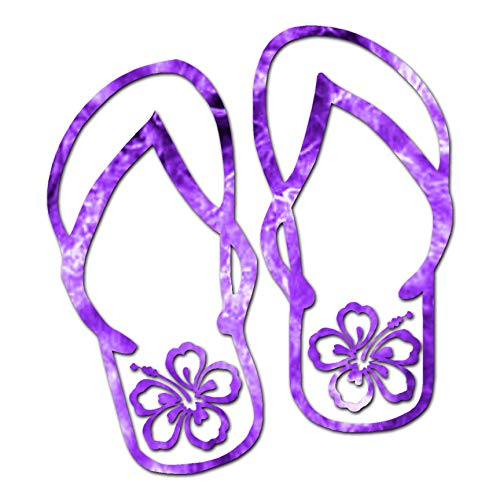 """Tropical Hibiscus Flip Flops - Vinyl Decal Sticker - 3.75"""" x 4.15"""" - Purple Flames from Southern Decalz"""