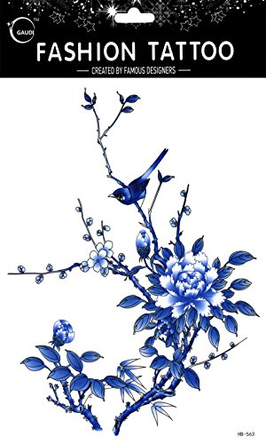 Latest new design and hot selling realistic tattoo stickers Large design blue sparrows and flowers realistic tattoo stickers women for chest,belly,back,leg,etc.