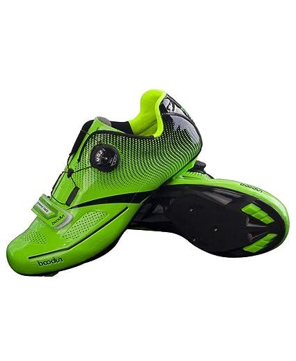 CWXDIAN Zapatillas de Ciclismo, Equipos Ciclistas, Hombres, Bicicletas de Carretera Profesionales, Verde