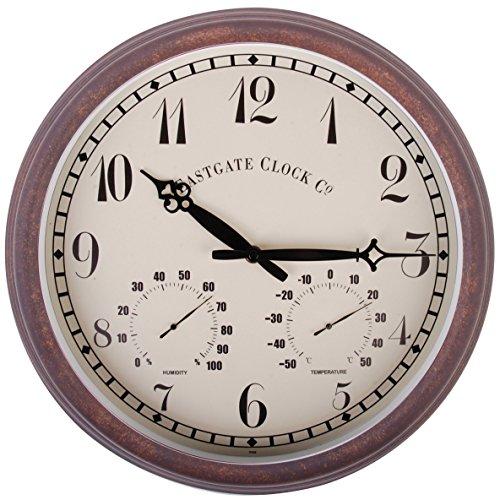 Esschert Design Wanduhr, Gartenuhr aus Kunststoff, rund , ca. 38 cm x 6,1 cm x 38 cm