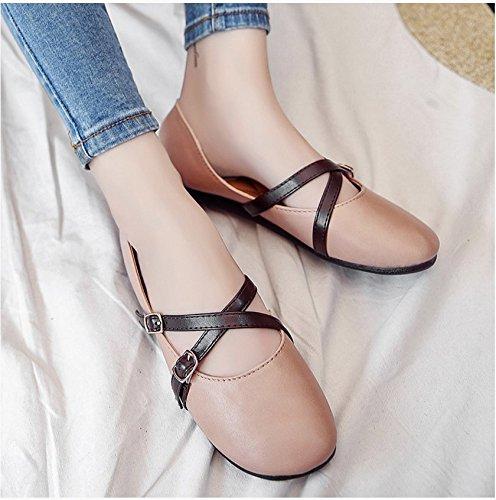 RUGAI-UE Zapatos Zapatos Squbuckle Retro zapatos de mujer Pink