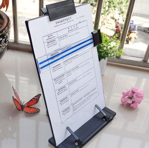 Black metal desktop document book holder with 7 adjustable positions