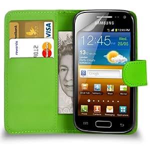 123 Online Samsung Galaxy Ace 2 i8160 cuero verde tirón de la carpeta del caso de la cubierta Pouch + 2 x Protector de pantalla y paño de pulido