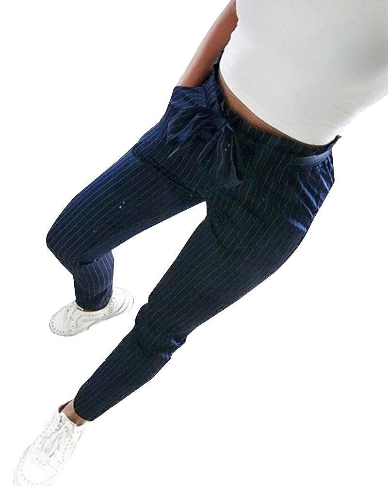 866254985c50e ShallGood Donna Pantaloni Basic Elegante Alto Vita Harem Larghi Elastico  Sottile Pantaloni Slim OL Temperamento Ladies