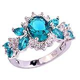 Emsione 925 Sterling Silver Flower Green&Topaz Womens Ring