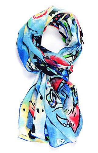 Art Silk Scarf - Salutto Womens 100% Charmeuse Silk Scarf Van Gogh Paul Gauguin Monet Painted Scarves 02