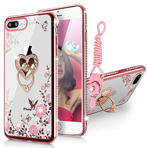WATACHE Case for iPhone 8 Plus/7 Plus 5.5, Bling Rhinestone Floral Butterfly Crystal Slim TPU Protective Cover with Detachable Finger Ring Holder Stand + Strap for iPhone 8/7 Plus(Rose Gold)