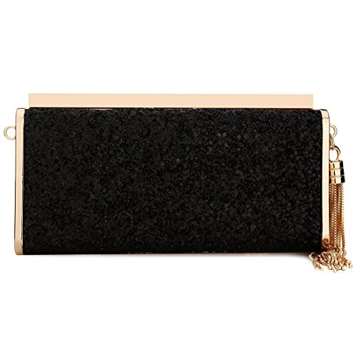 Ideal Pink Clutch Shoulder Acrylic Evening Sequin Bags with Gift Clutches Women Black Handbag Ladies Luxury Tassel Bag Purse Fashionable for STU4W5qv