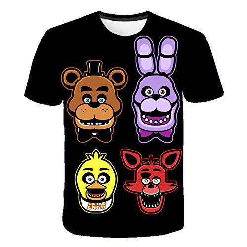 IFITBELT FNAF T-shirt met cartoonprint, 3D-print, voor kinderen, zomer, korte mouwen, T-shirt, jongens, meisjes, Fiv-e…