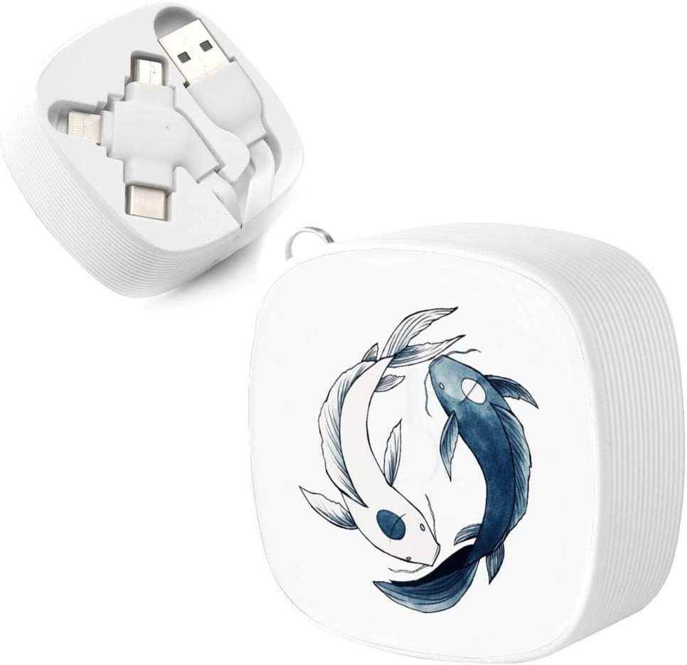 Yin /& Yang Koi Suitable for Any Mobile Phone Three in One Data Line Tui and La