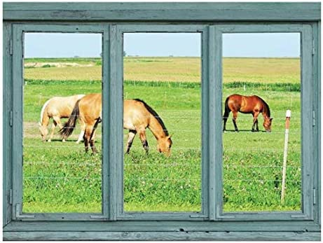 Horses in a Pasture grazing on Green Grass - Wall Mural, Removable Sticker, Home Decor - 24x32 inches