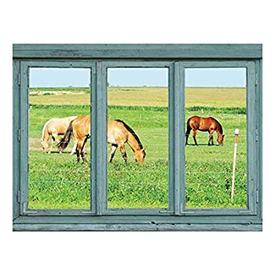 Horses in a Pasture grazing on Green Grass Wall Mural, Classic Artwork, Magnificent Handicraft