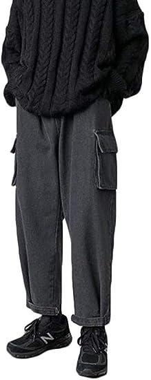 [ウンセン]デニムパンツ メンズ ロングパンツ ゆったり ジーンズ ストレート ポケット付き おしゃれ カーゴパンツ デニム カジュアル ジーパン ストリート系 秋 冬
