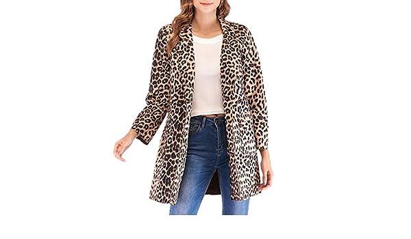Amazon.com: AOJIAN Women Jacket Long Sleeve Outwear Leopard Print Notch Collar Open Front Fashion Coat Khaki: Clothing