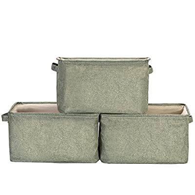 StorageWorks Storage Basket, Foldable Polyester Linen Cloth Bin Organizer, Olive, Large, 3-Pack - PERFECT OPENING DESIGN: The opening of this basket is made of tough rectangular iron frame, making the storage container gorgeous looking and easy to use. ENHANCED WEIGHT CAPACITY: These high quality storage baskets are made of specially processed linen-like materials, very thick and sturdy. Together with nicely made handles and iron frames in the openings, they can hold heavy load up to 25 lbs. FASHIONABLE STYLE: With beautiful linen-like materials following globally trendy colors of fashion and furniture, the wonderful storage basket perfectly fits in your room layout and household decors. The linen-like lining is also comfortable and durable. - living-room-decor, living-room, baskets-storage - 51CVtwSqH7L. SS400  -