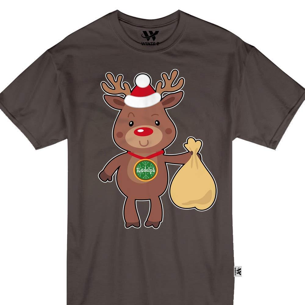 Rudolph Reindeer Cute Santa Sleigh Tshirt 1571