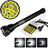 Power Bright 5 Modes 15xxm-l T6 LED 18000lm Torch 15t6 Camping Flashlight Lamp 4x18650+charger Pack