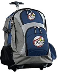 Baseball Rolling Backpack Deluxe Navy BASEBALL FANATIC Backpacks Bags with Whee