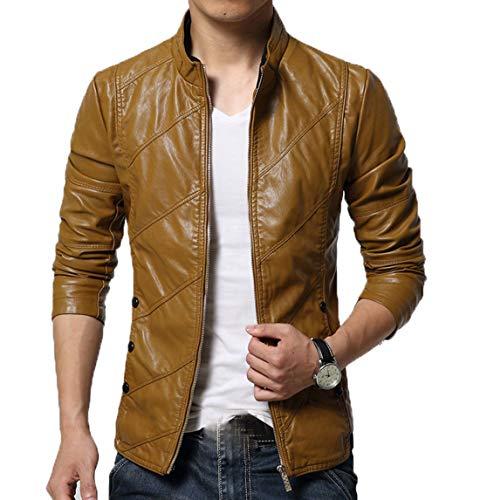chouyatou Men's Cool Stylish Slim Fit Stand Collar Lightweight Bomber Faux Leather Jacket Coat (Medium, Khaki)